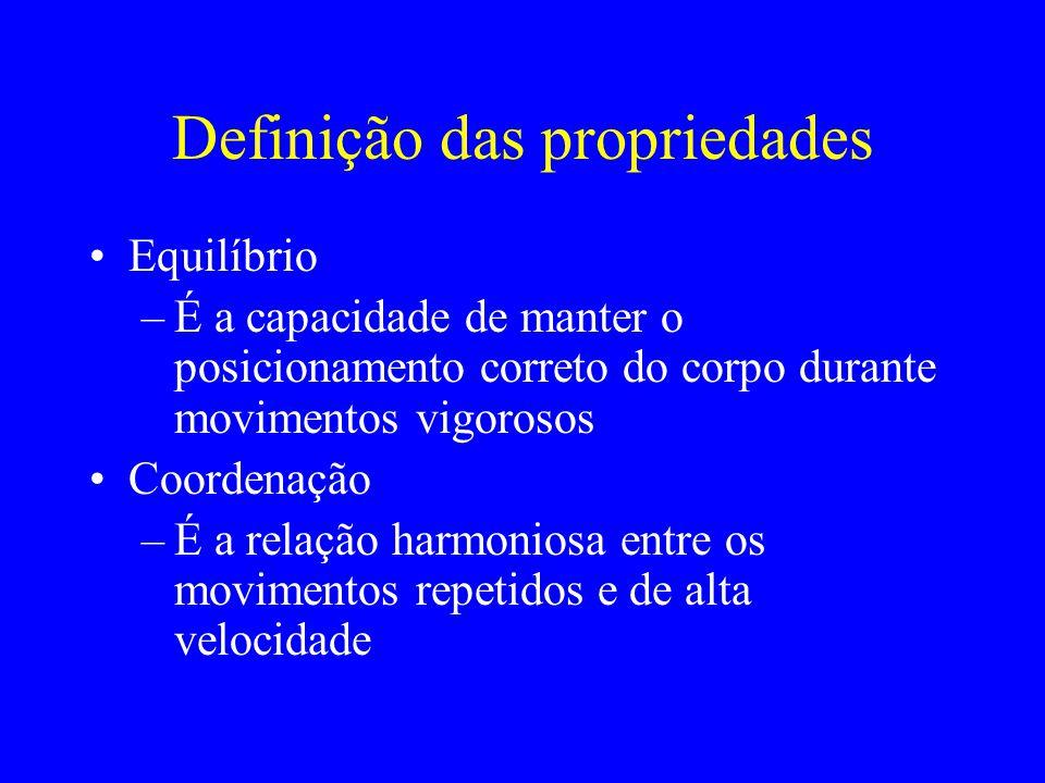 Definição das propriedades Equilíbrio –É a capacidade de manter o posicionamento correto do corpo durante movimentos vigorosos Coordenação –É a relaçã