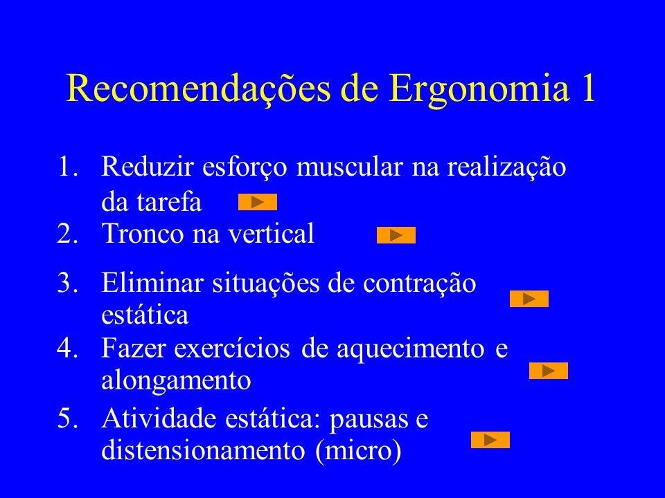 Recomendações de Ergonomia 1 1.Reduzir esforço muscular na realização da tarefa 2.Tronco na vertical 3.Eliminar situações de contração estática 4.Faze