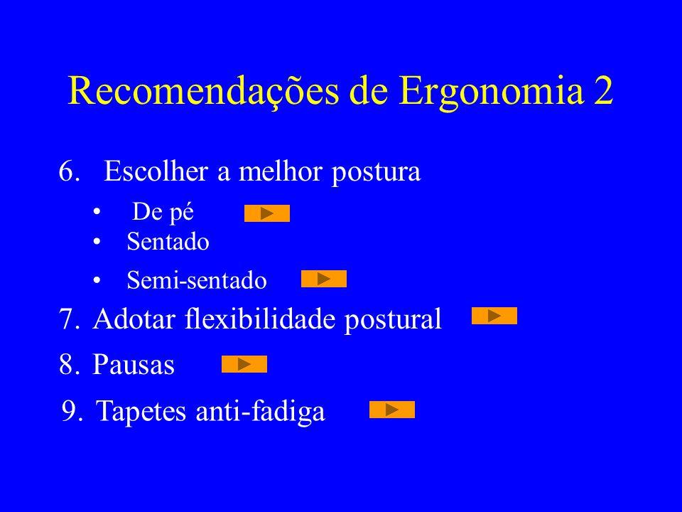 Recomendações de Ergonomia 2 6.Escolher a melhor postura De pé Sentado Semi-sentado 7.Adotar flexibilidade postural 8.Pausas 9.Tapetes anti-fadiga