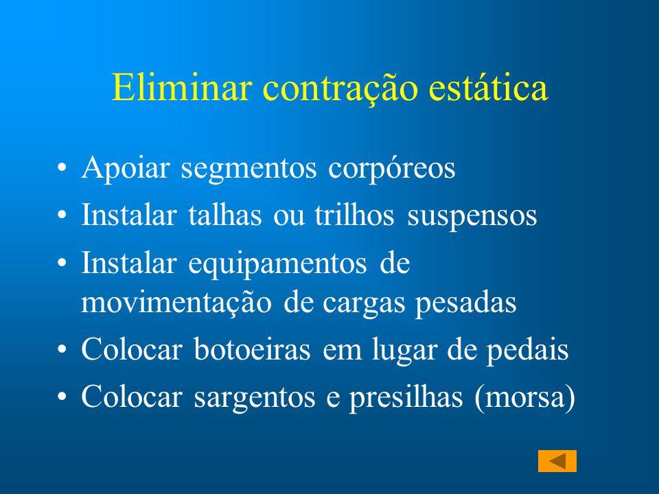 Eliminar contração estática Apoiar segmentos corpóreos Instalar talhas ou trilhos suspensos Instalar equipamentos de movimentação de cargas pesadas Co