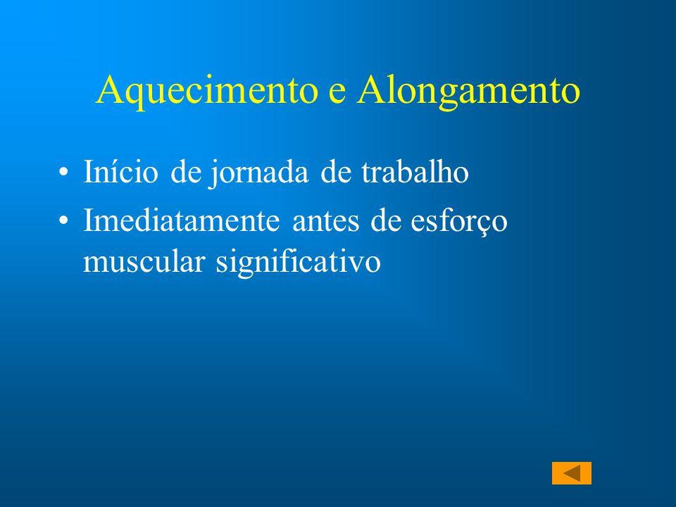 Aquecimento e Alongamento Início de jornada de trabalho Imediatamente antes de esforço muscular significativo