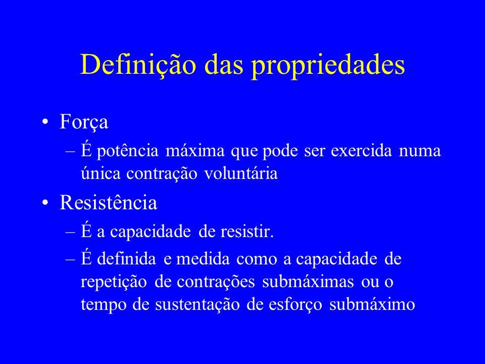 Definição das propriedades Força –É potência máxima que pode ser exercida numa única contração voluntária Resistência –É a capacidade de resistir. –É