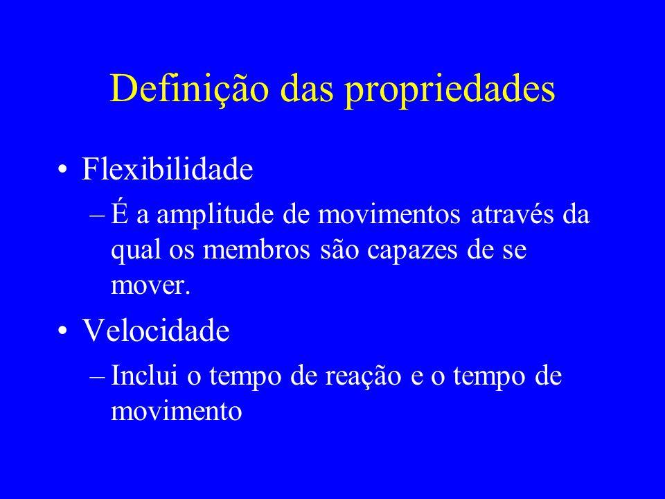 Definição das propriedades Flexibilidade –É a amplitude de movimentos através da qual os membros são capazes de se mover. Velocidade –Inclui o tempo d
