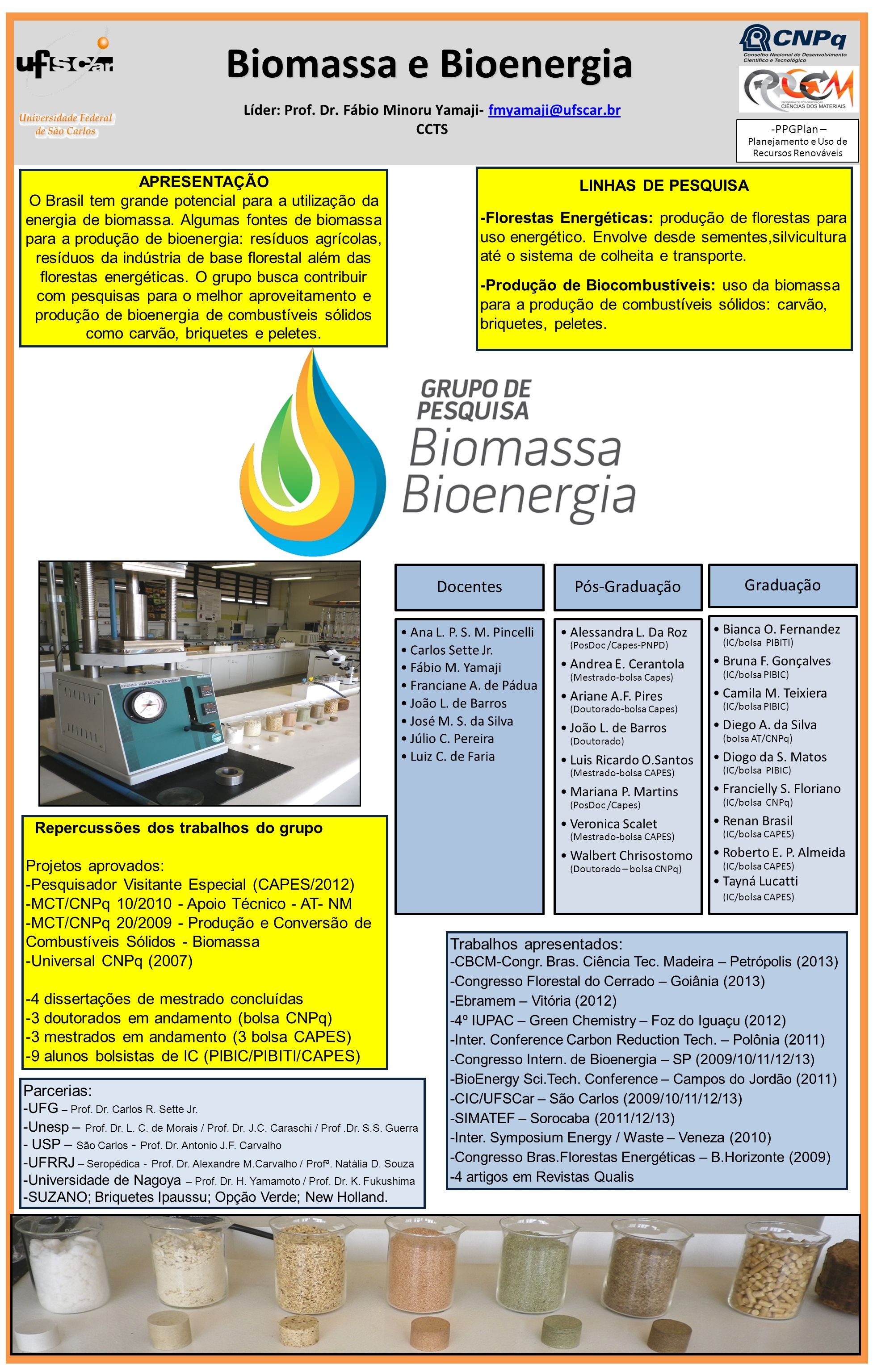 Líder: Prof. Dr. Fábio Minoru Yamaji- fmyamaji@ufscar.brfmyamaji@ufscar.br CCTS Biomassa e Bioenergia Branco 100μm AISI 1040 steel BRANCO 100μm a) b)b