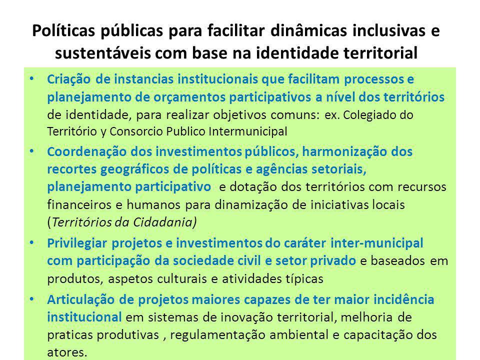 Políticas públicas para facilitar dinâmicas inclusivas e sustentáveis com base na identidade territorial Criação de instancias institucionais que facilitam processos e planejamento de orçamentos participativos a nível dos territórios de identidade, para realizar objetivos comuns: ex.