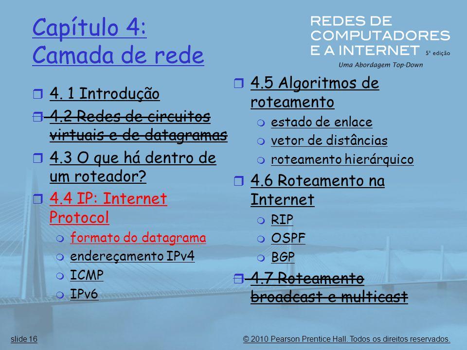 © 2010 Pearson Prentice Hall. Todos os direitos reservados.slide 16 Capítulo 4: Camada de rede  4. 1 Introdução  4.2 Redes de circuitos virtuais e d