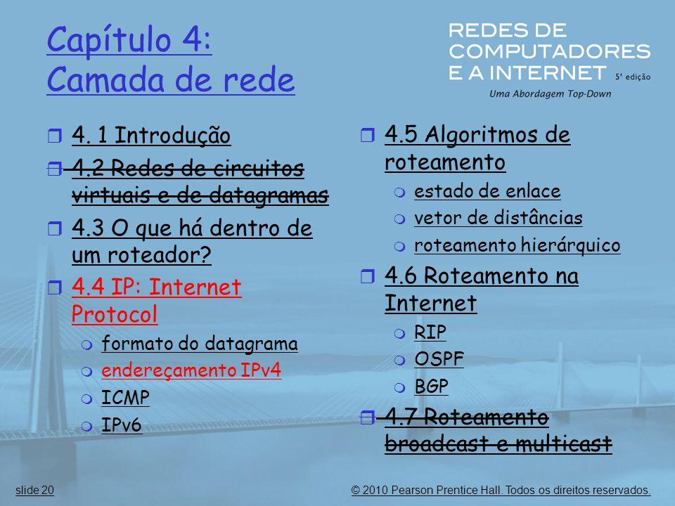 © 2010 Pearson Prentice Hall. Todos os direitos reservados.slide 20 Capítulo 4: Camada de rede  4. 1 Introdução  4.2 Redes de circuitos virtuais e d