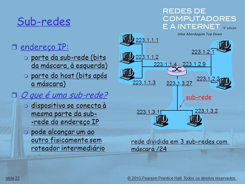 © 2010 Pearson Prentice Hall. Todos os direitos reservados.slide 22 Sub-redes  endereço IP:  parte da sub-rede (bits da máscara, à esquerda)  parte