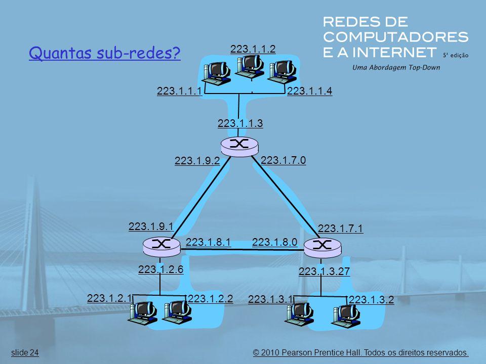 © 2010 Pearson Prentice Hall. Todos os direitos reservados.slide 24 Quantas sub-redes? 223.1.1.1 223.1.1.3 223.1.1.4 223.1.2.2 223.1.2.1 223.1.2.6 223