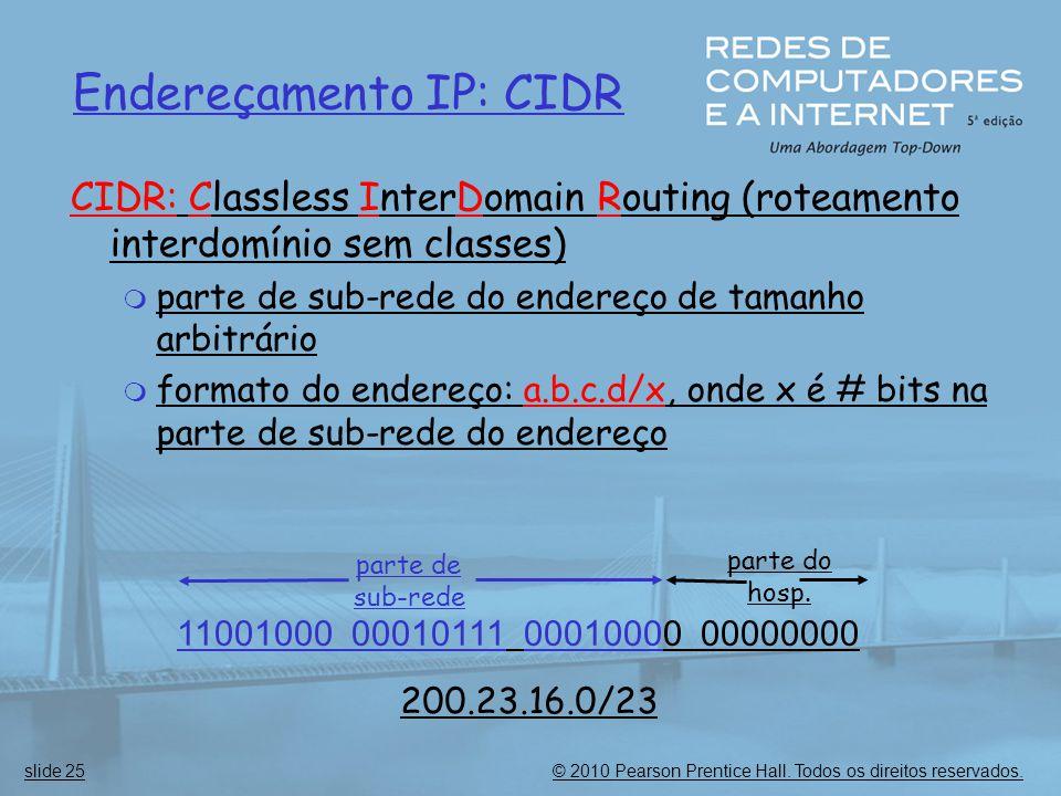 © 2010 Pearson Prentice Hall. Todos os direitos reservados.slide 25 Endereçamento IP: CIDR CIDR: Classless InterDomain Routing (roteamento interdomíni