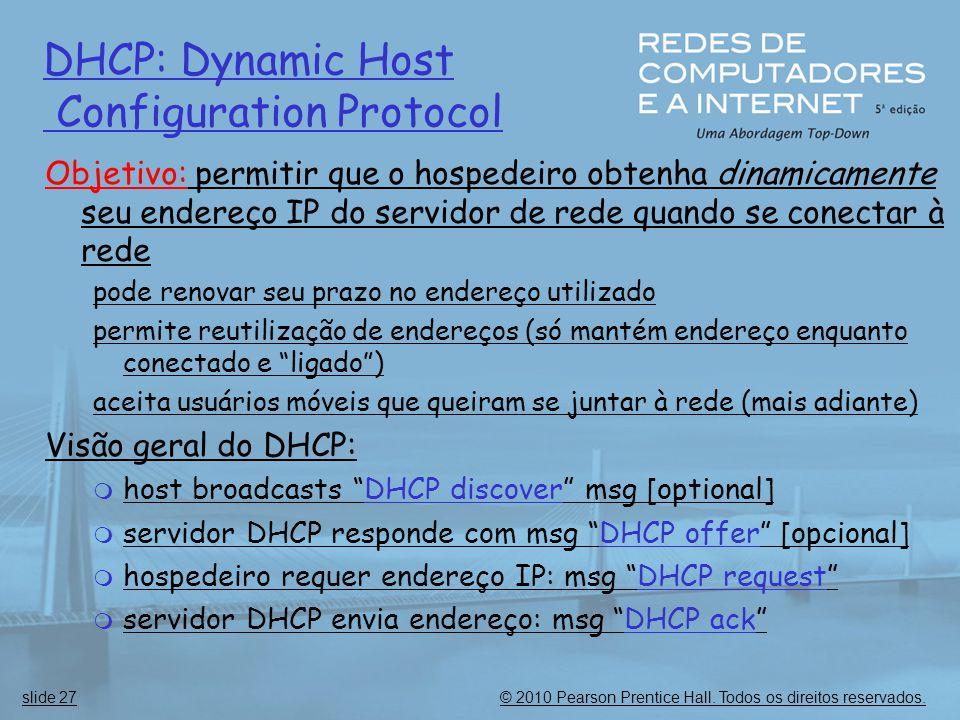 © 2010 Pearson Prentice Hall. Todos os direitos reservados.slide 27 DHCP: Dynamic Host Configuration Protocol Objetivo: permitir que o hospedeiro obte