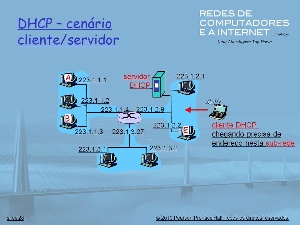 © 2010 Pearson Prentice Hall. Todos os direitos reservados.slide 28 DHCP – cenário cliente/servidor 223.1.1.1 223.1.1.2 223.1.1.3 223.1.1.4 223.1.2.9