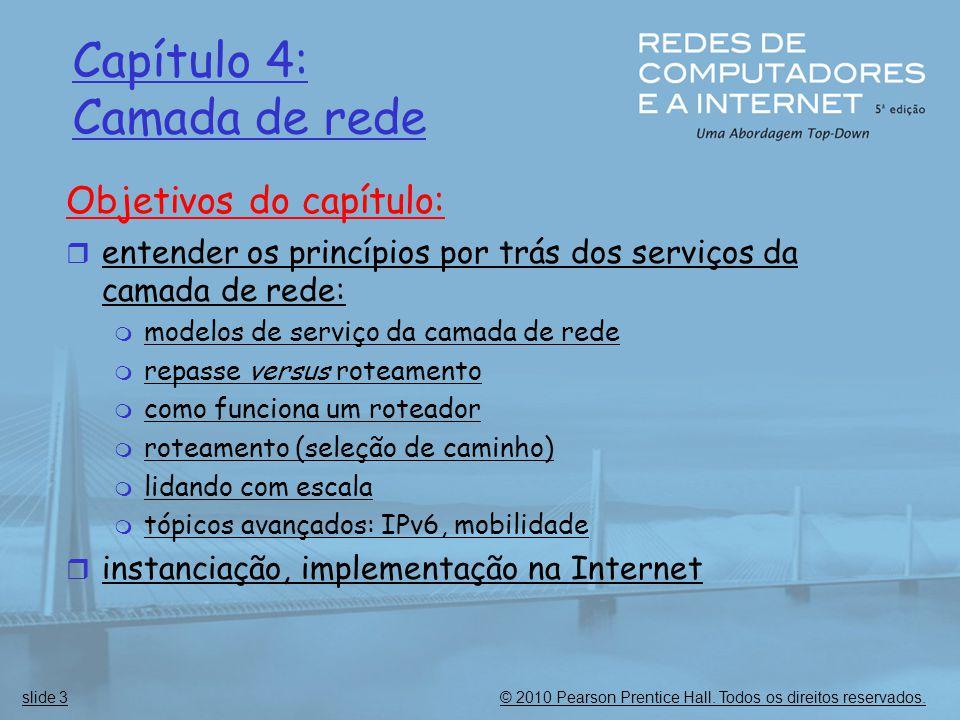 © 2010 Pearson Prentice Hall. Todos os direitos reservados.slide 3 Capítulo 4: Camada de rede Objetivos do capítulo:  entender os princípios por trás