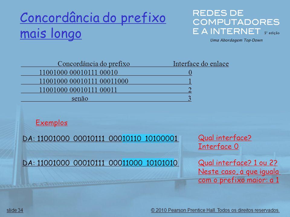 © 2010 Pearson Prentice Hall. Todos os direitos reservados.slide 34 Concordância do prefixo mais longo Concordância do prefixo Interface do enlace 110