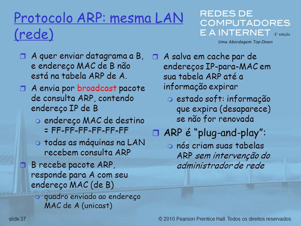 © 2010 Pearson Prentice Hall. Todos os direitos reservados.slide 37 Protocolo ARP: mesma LAN (rede)  A quer enviar datagrama a B, e endereço MAC de B