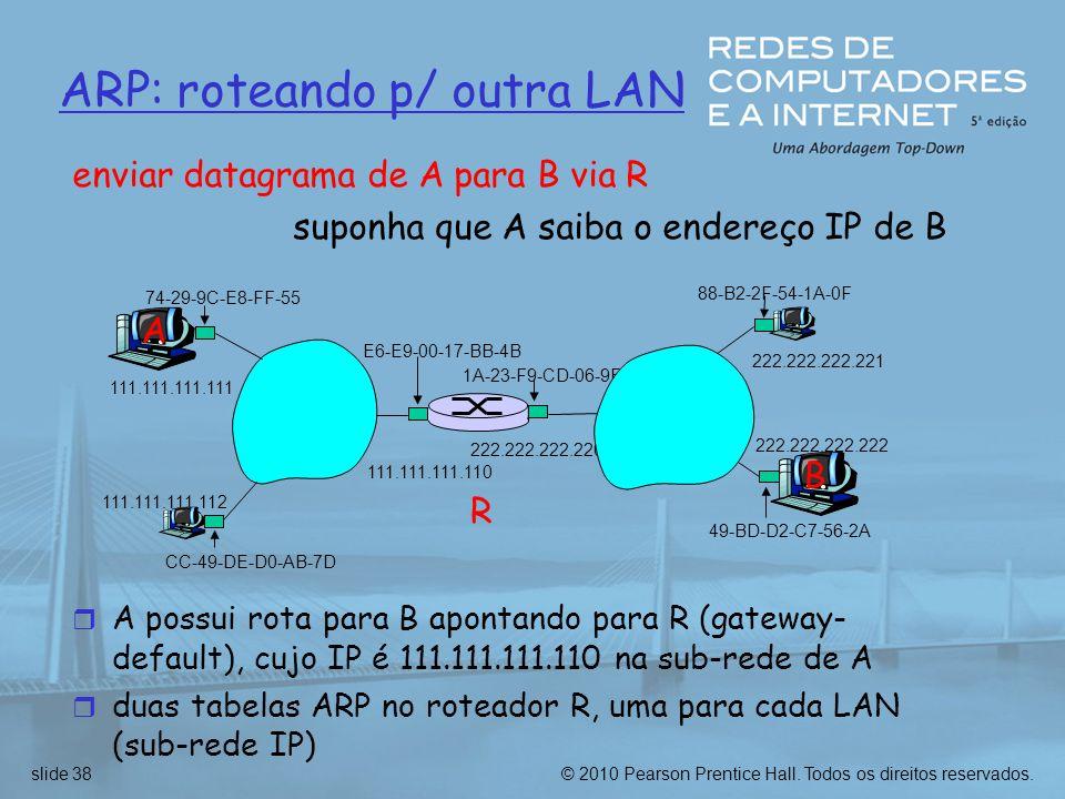 © 2010 Pearson Prentice Hall. Todos os direitos reservados.slide 38 ARP: roteando p/ outra LAN R 1A-23-F9-CD-06-9B 222.222.222.220 111.111.111.110 E6-