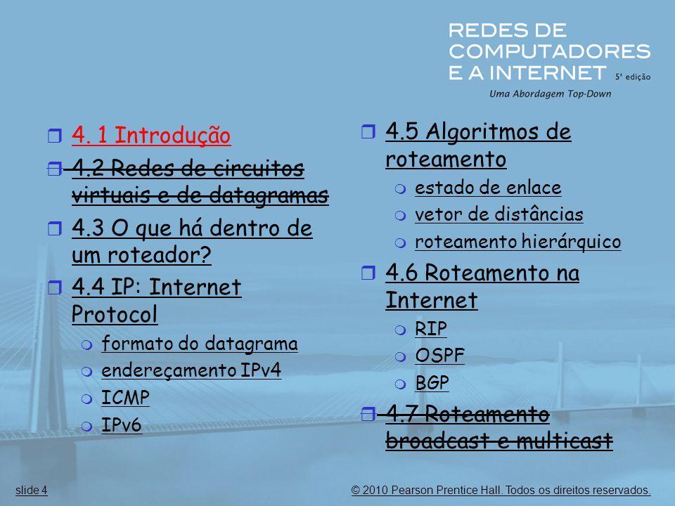 © 2010 Pearson Prentice Hall. Todos os direitos reservados.slide 4  4. 1 Introdução  4.2 Redes de circuitos virtuais e de datagramas  4.3 O que há