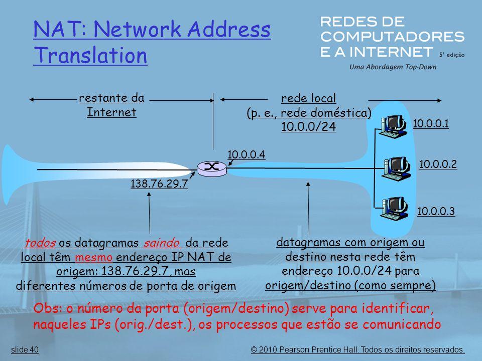 © 2010 Pearson Prentice Hall. Todos os direitos reservados.slide 40 NAT: Network Address Translation 10.0.0.1 10.0.0.2 10.0.0.3 10.0.0.4 138.76.29.7 r