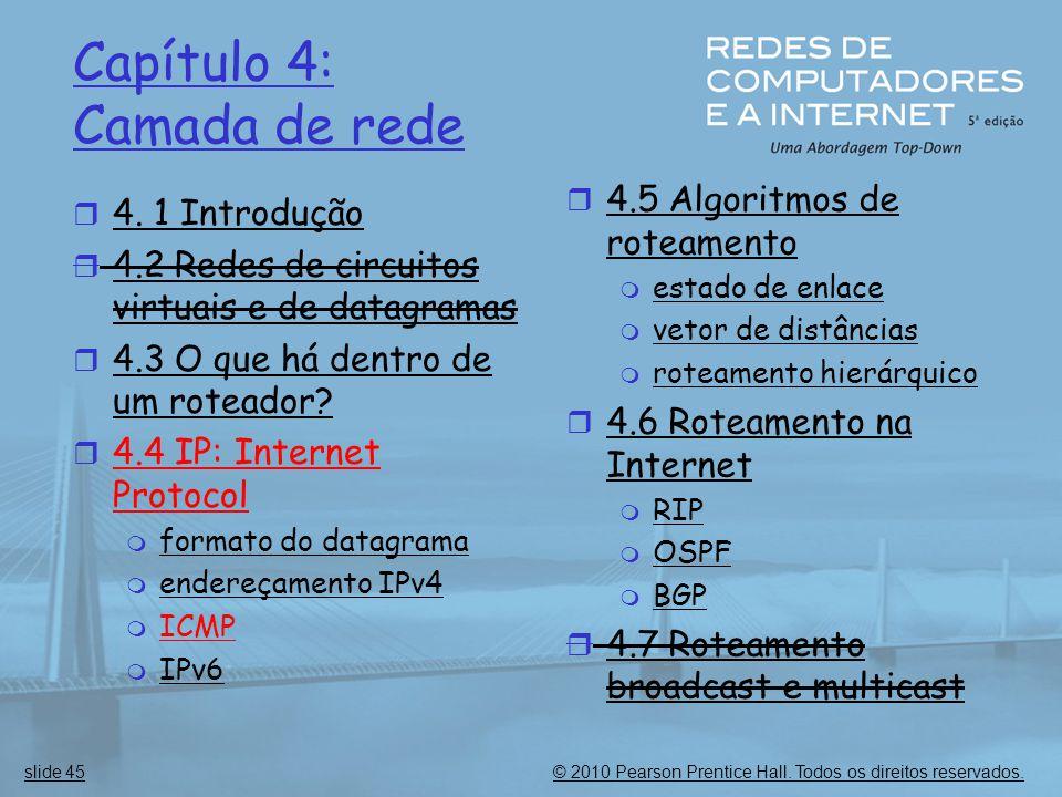 © 2010 Pearson Prentice Hall. Todos os direitos reservados.slide 45 Capítulo 4: Camada de rede  4. 1 Introdução  4.2 Redes de circuitos virtuais e d