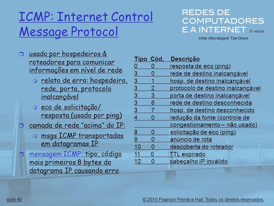 © 2010 Pearson Prentice Hall. Todos os direitos reservados.slide 46 ICMP: Internet Control Message Protocol  usado por hospedeiros & roteadores para
