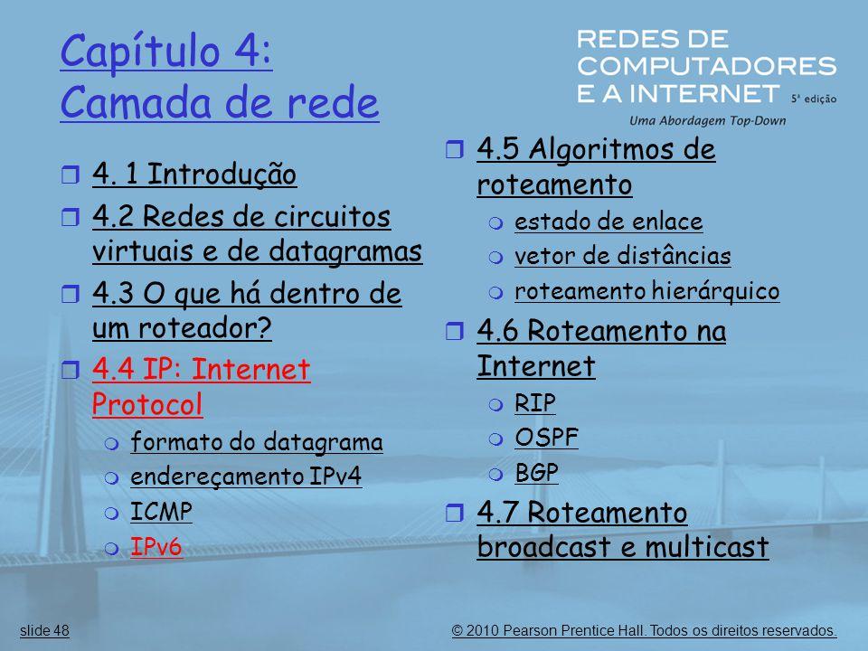 © 2010 Pearson Prentice Hall. Todos os direitos reservados.slide 48 Capítulo 4: Camada de rede  4. 1 Introdução  4.2 Redes de circuitos virtuais e d