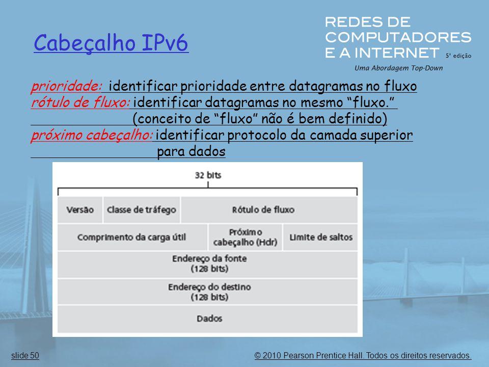 © 2010 Pearson Prentice Hall. Todos os direitos reservados.slide 50 Cabeçalho IPv6 prioridade: identificar prioridade entre datagramas no fluxo rótulo