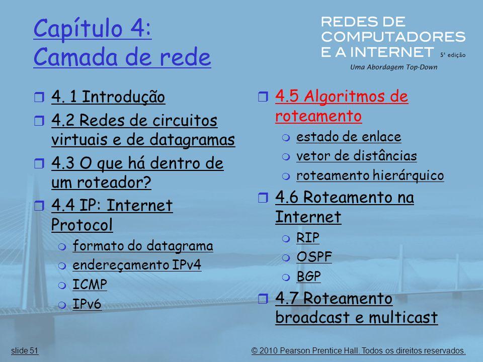 © 2010 Pearson Prentice Hall. Todos os direitos reservados.slide 51 Capítulo 4: Camada de rede  4. 1 Introdução  4.2 Redes de circuitos virtuais e d