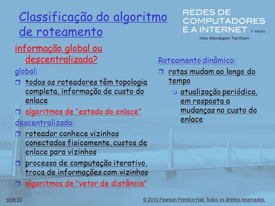 © 2010 Pearson Prentice Hall. Todos os direitos reservados.slide 55 Classificação do algoritmo de roteamento informação global ou descentralizada? glo