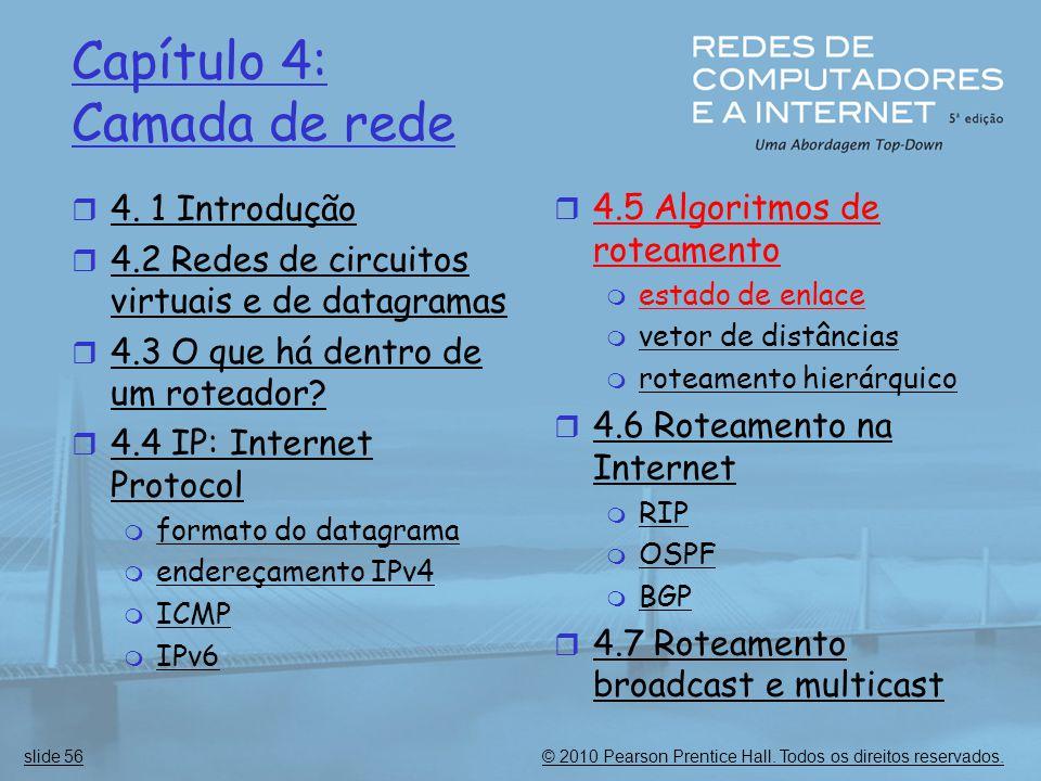 © 2010 Pearson Prentice Hall. Todos os direitos reservados.slide 56 Capítulo 4: Camada de rede  4. 1 Introdução  4.2 Redes de circuitos virtuais e d