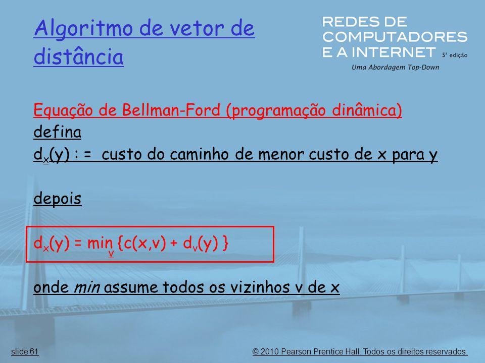 © 2010 Pearson Prentice Hall. Todos os direitos reservados.slide 61 Algoritmo de vetor de distância Equação de Bellman-Ford (programação dinâmica) def