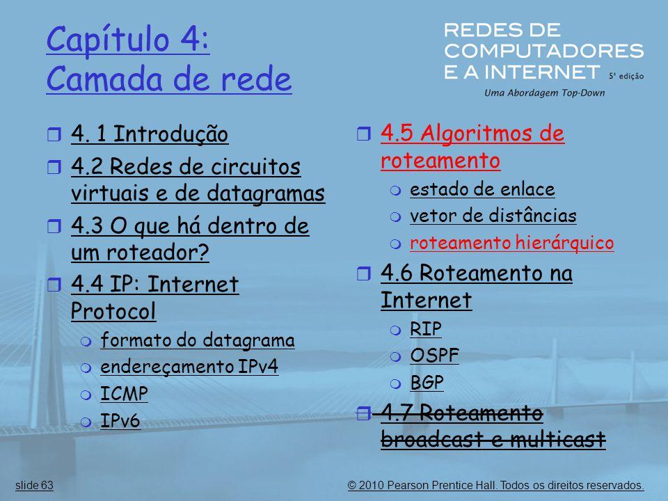 © 2010 Pearson Prentice Hall. Todos os direitos reservados.slide 63 Capítulo 4: Camada de rede  4. 1 Introdução  4.2 Redes de circuitos virtuais e d
