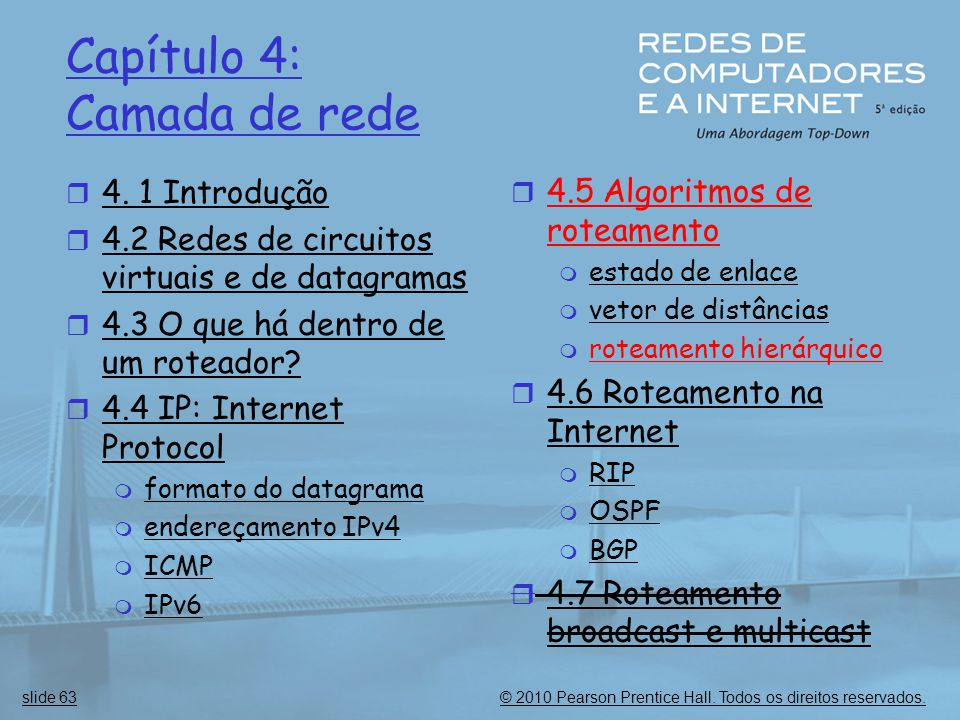 © 2010 Pearson Prentice Hall.Todos os direitos reservados.slide 63 Capítulo 4: Camada de rede  4.