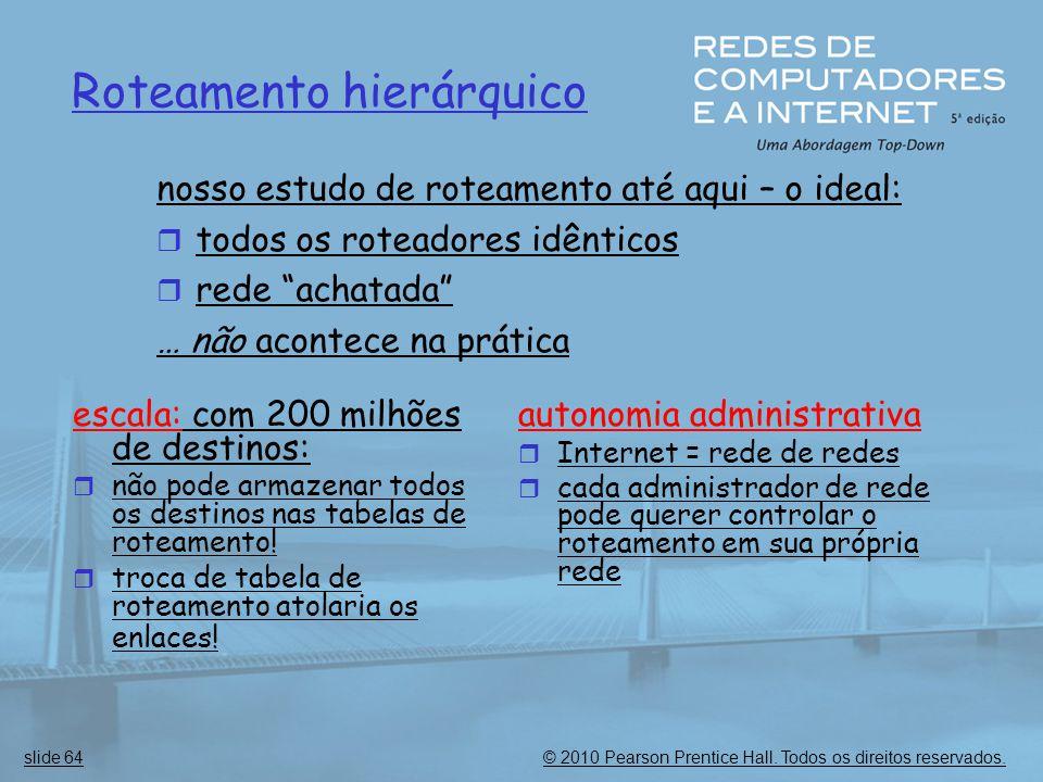 © 2010 Pearson Prentice Hall. Todos os direitos reservados.slide 64 Roteamento hierárquico escala: com 200 milhões de destinos:  não pode armazenar t