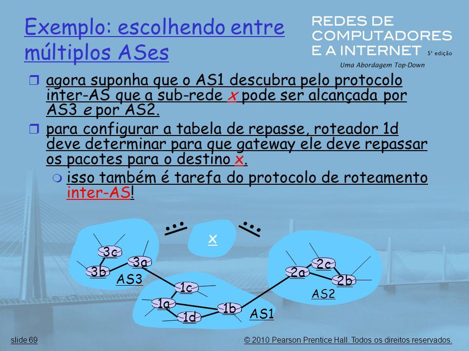 © 2010 Pearson Prentice Hall. Todos os direitos reservados.slide 69 Exemplo: escolhendo entre múltiplos ASes  agora suponha que o AS1 descubra pelo p