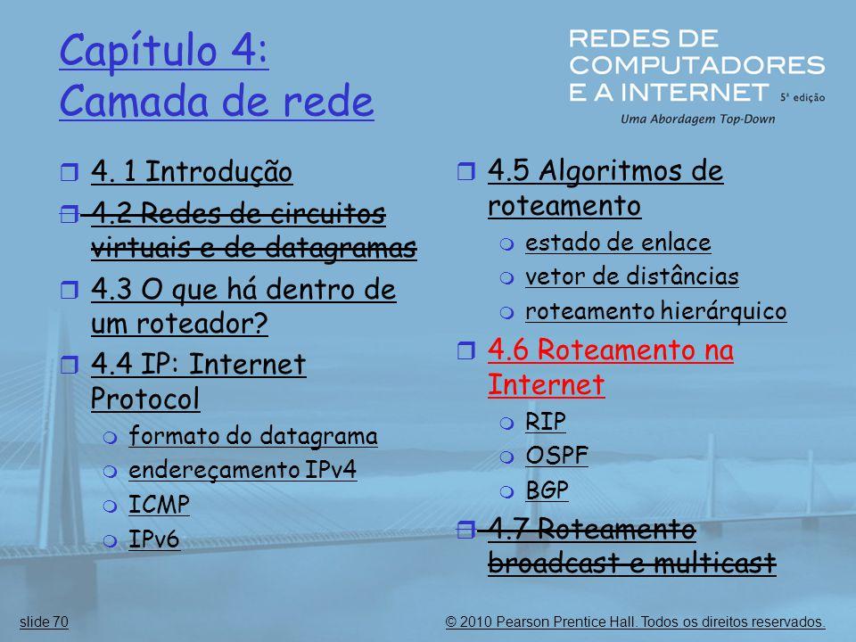 © 2010 Pearson Prentice Hall. Todos os direitos reservados.slide 70 Capítulo 4: Camada de rede  4. 1 Introdução  4.2 Redes de circuitos virtuais e d