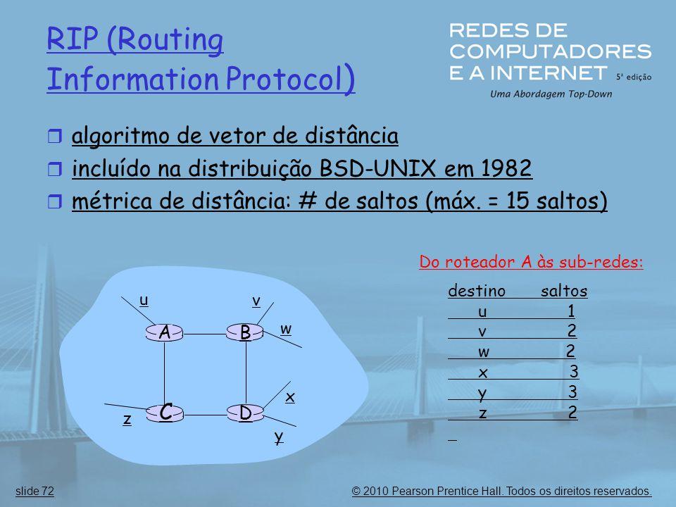 © 2010 Pearson Prentice Hall. Todos os direitos reservados.slide 72 RIP (Routing Information Protocol )  algoritmo de vetor de distância  incluído n