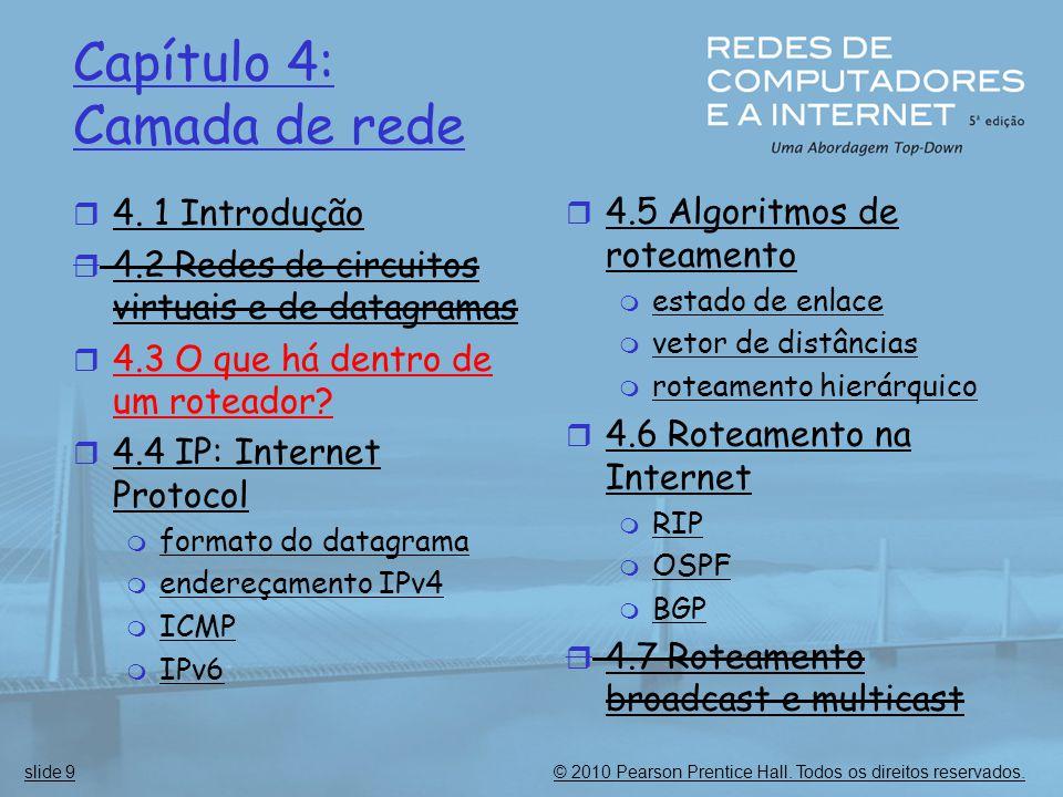 © 2010 Pearson Prentice Hall. Todos os direitos reservados.slide 9 Capítulo 4: Camada de rede  4. 1 Introdução  4.2 Redes de circuitos virtuais e de