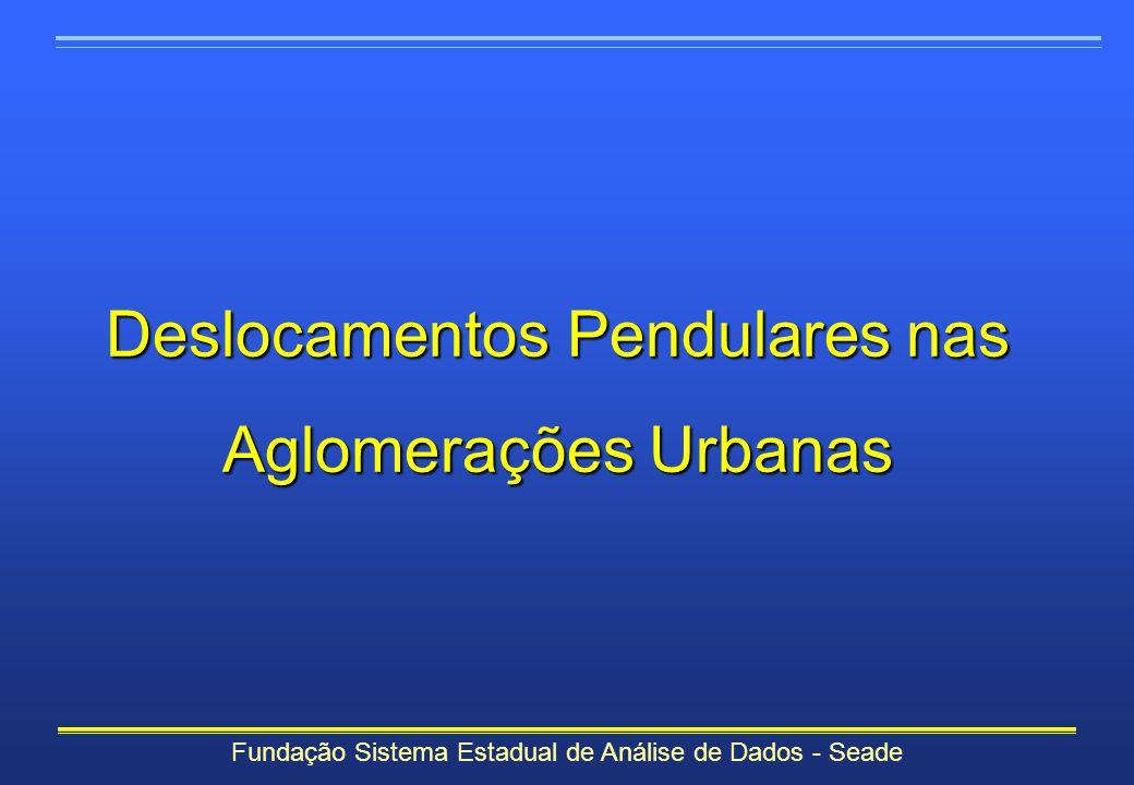 Fundação Sistema Estadual de Análise de Dados - Seade Deslocamentos Pendulares nas Aglomerações Urbanas