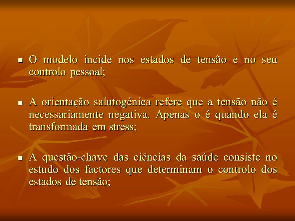 O modelo incide nos estados de tensão e no seu controlo pessoal; O modelo incide nos estados de tensão e no seu controlo pessoal; A orientação salutogénica refere que a tensão não é necessariamente negativa.