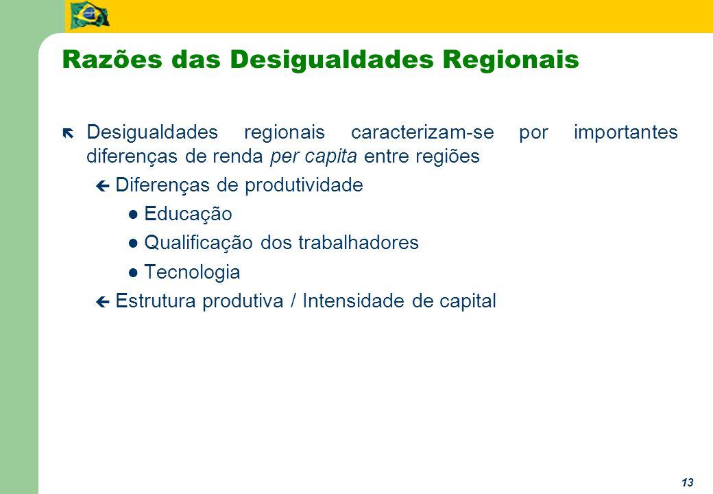 13 Razões das Desigualdades Regionais ë Desigualdades regionais caracterizam-se por importantes diferenças de renda per capita entre regiões ç Diferenças de produtividade Educação Qualificação dos trabalhadores Tecnologia ç Estrutura produtiva / Intensidade de capital