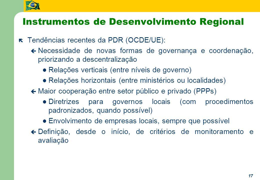 17 Instrumentos de Desenvolvimento Regional ë Tendências recentes da PDR (OCDE/UE): ç Necessidade de novas formas de governança e coordenação, priorizando a descentralização Relações verticais (entre níveis de governo) Relações horizontais (entre ministérios ou localidades) ç Maior cooperação entre setor público e privado (PPPs) Diretrizes para governos locais (com procedimentos padronizados, quando possível) Envolvimento de empresas locais, sempre que possível ç Definição, desde o início, de critérios de monitoramento e avaliação
