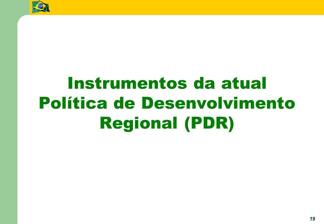 19 Instrumentos da atual Política de Desenvolvimento Regional (PDR)