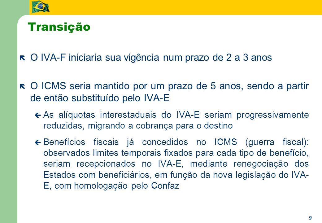 9 ë O IVA-F iniciaria sua vigência num prazo de 2 a 3 anos ë O ICMS seria mantido por um prazo de 5 anos, sendo a partir de então substituído pelo IVA-E ç As alíquotas interestaduais do IVA-E seriam progressivamente reduzidas, migrando a cobrança para o destino ç Benefícios fiscais já concedidos no ICMS (guerra fiscal): observados limites temporais fixados para cada tipo de benefício, seriam recepcionados no IVA-E, mediante renegociação dos Estados com beneficiários, em função da nova legislação do IVA- E, com homologação pelo Confaz Transição