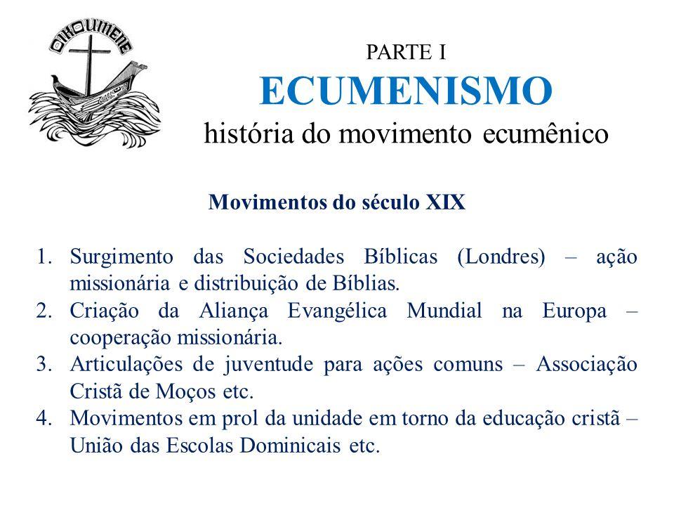PARTE I ECUMENISMO história do movimento ecumênico Movimentos do século XIX 1.Surgimento das Sociedades Bíblicas (Londres) – ação missionária e distri