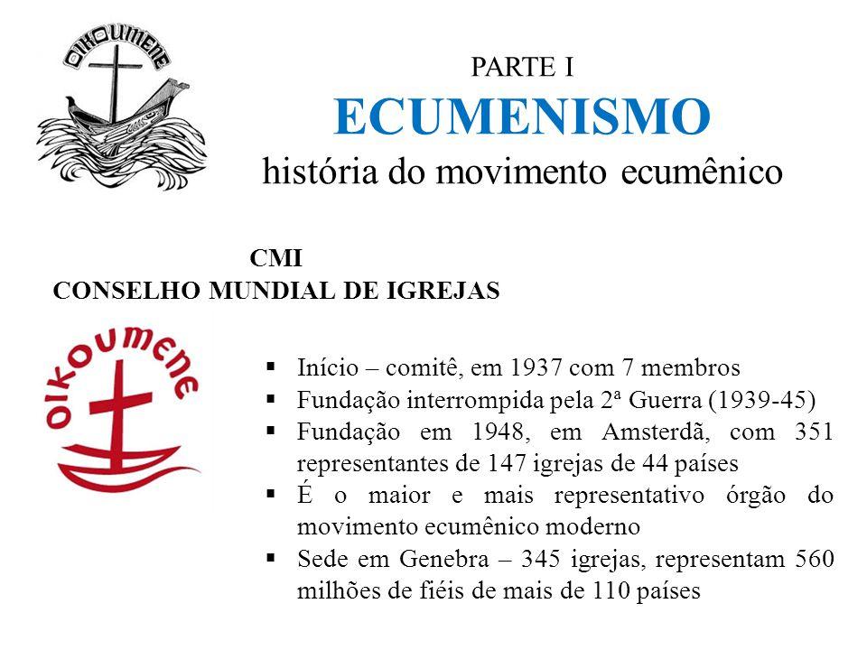 PARTE I ECUMENISMO história do movimento ecumênico CMI CONSELHO MUNDIAL DE IGREJAS  Início – comitê, em 1937 com 7 membros  Fundação interrompida pe