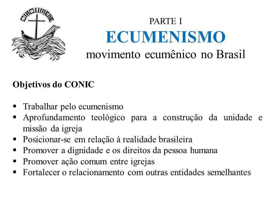 PARTE I ECUMENISMO movimento ecumênico no Brasil Objetivos do CONIC  Trabalhar pelo ecumenismo  Aprofundamento teológico para a construção da unidad