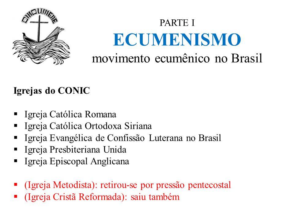 PARTE I ECUMENISMO movimento ecumênico no Brasil Igrejas do CONIC  Igreja Católica Romana  Igreja Católica Ortodoxa Siriana  Igreja Evangélica de C