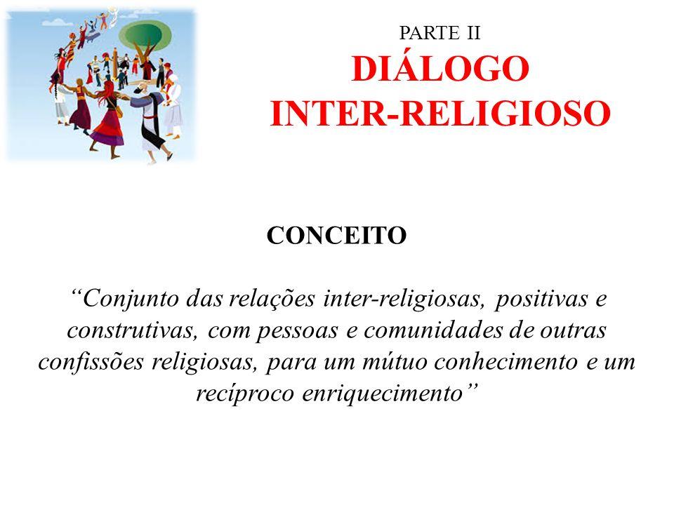 """PARTE II DIÁLOGO INTER-RELIGIOSO CONCEITO """"Conjunto das relações inter-religiosas, positivas e construtivas, com pessoas e comunidades de outras confi"""