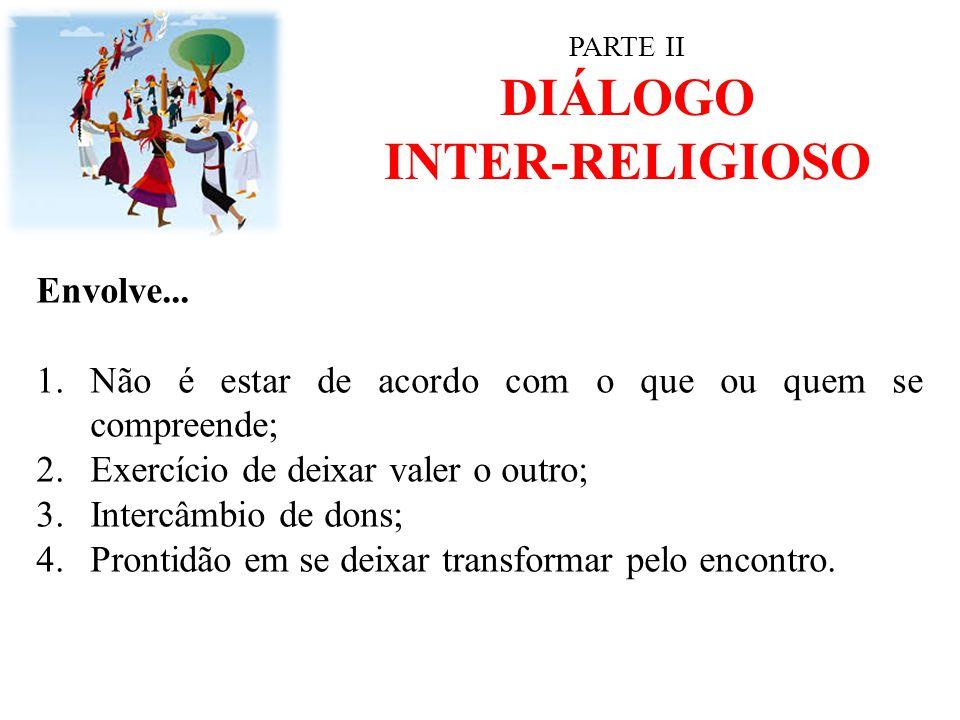 PARTE II DIÁLOGO INTER-RELIGIOSO Envolve... 1.Não é estar de acordo com o que ou quem se compreende; 2.Exercício de deixar valer o outro; 3.Intercâmbi
