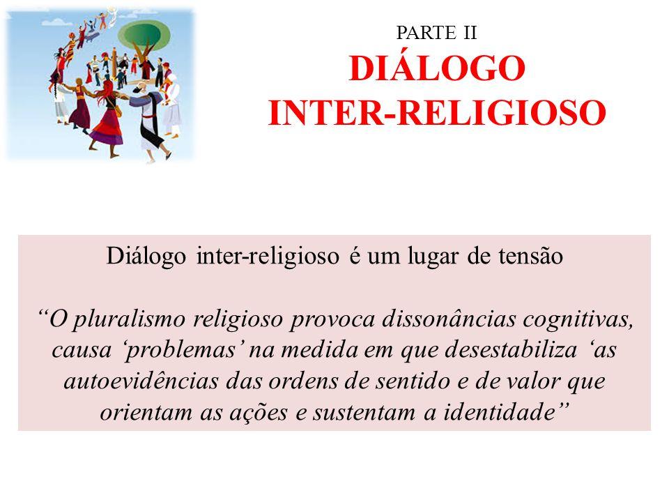 """PARTE II DIÁLOGO INTER-RELIGIOSO Diálogo inter-religioso é um lugar de tensão """"O pluralismo religioso provoca dissonâncias cognitivas, causa 'problema"""